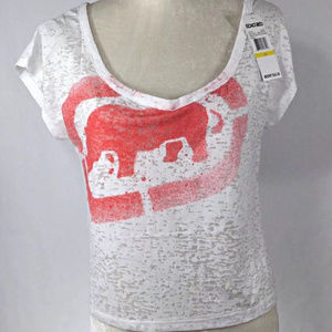 NEW ECKO RED CROP TOP SEE THROUGH SHIRT SMALL